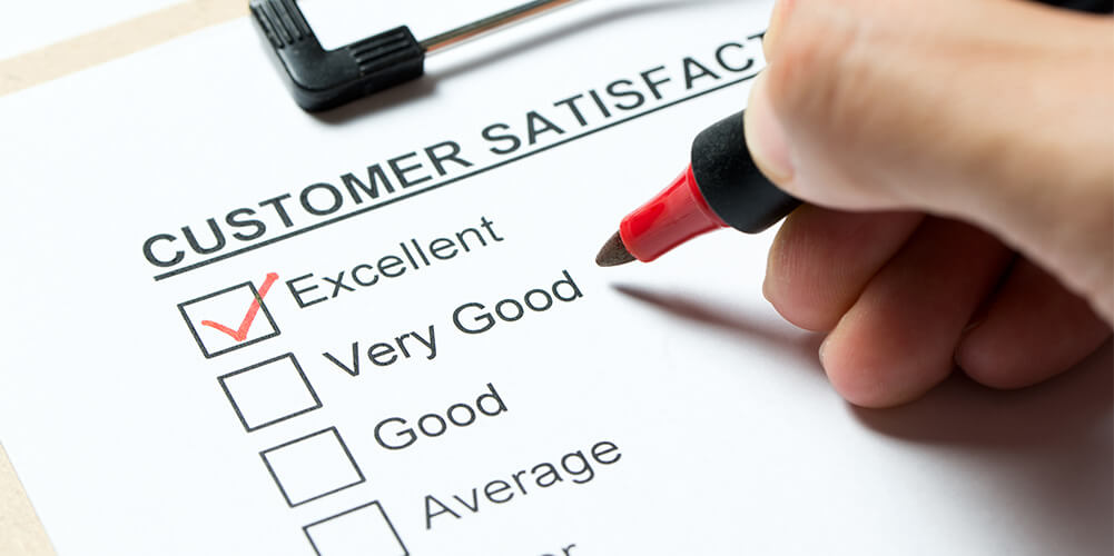 Concept art of survey that allows customers to rate their virtual client experience from poor to excellent.